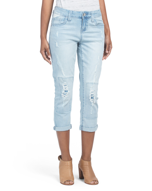 Bleached Destructed Crop Jeans