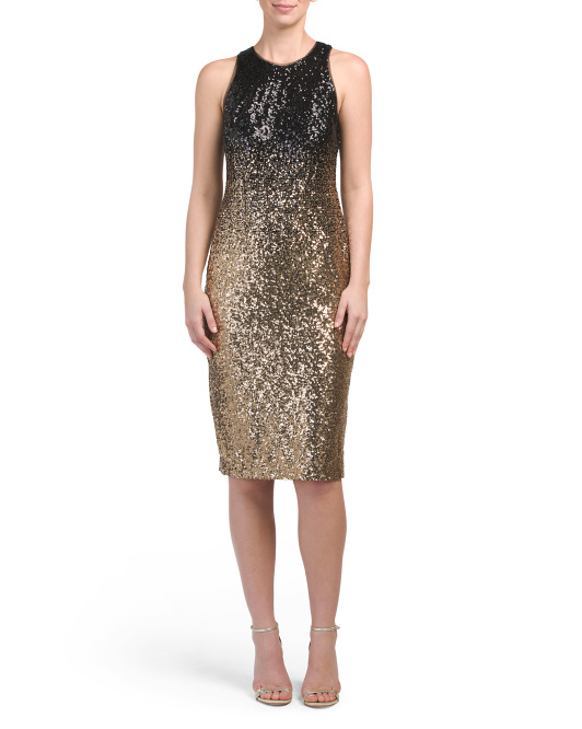 Sleeveless Ombre Sequin Dress