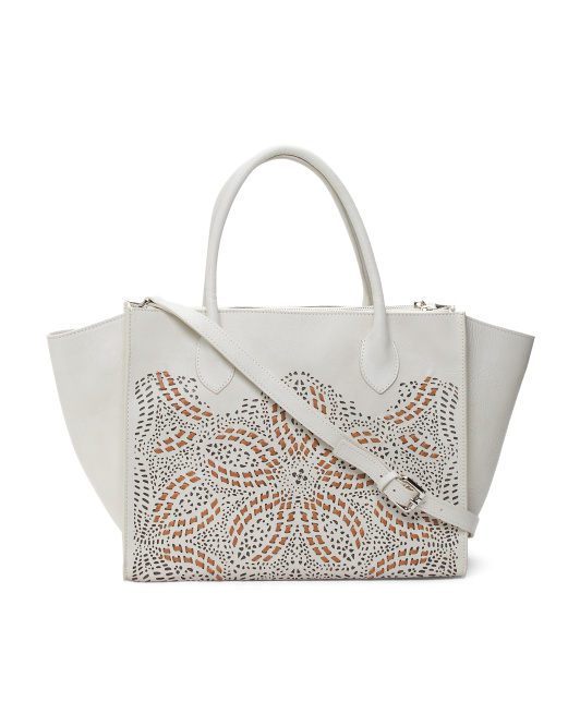 Made In Italy Large Perforated Leather Tote