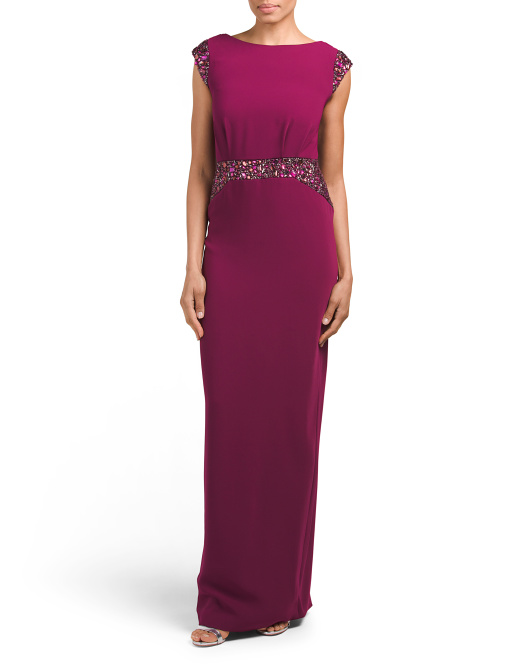 Crepe Gown With Cowl Back