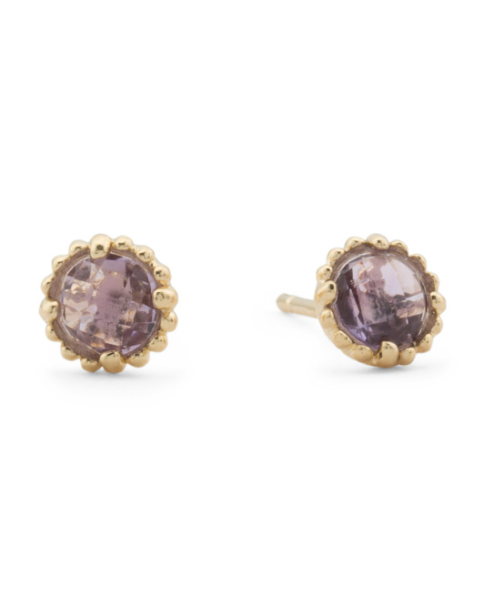Made In Italy 14k Gold Amethyst Stud Earrings