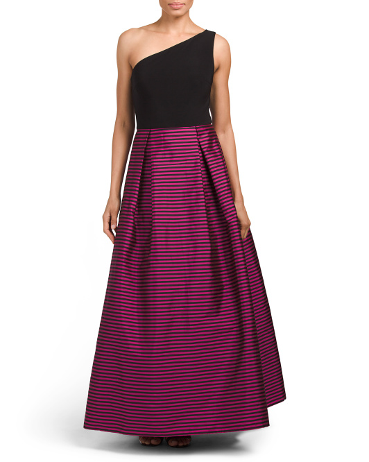 Dress With Striped Taffeta Skirt