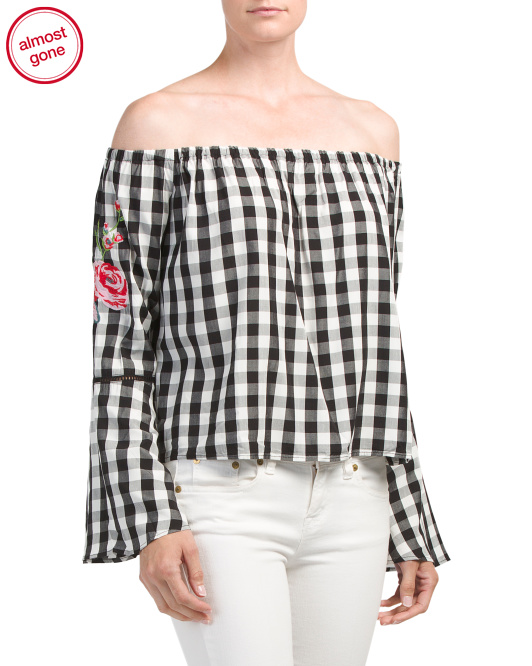 Juniors Rose Bell Sleeve Top