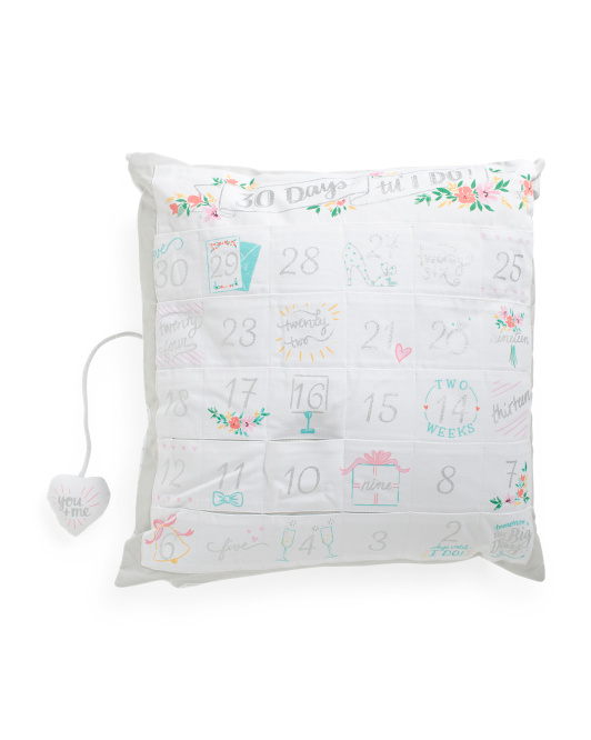 20x20 Wedding Countdown Pillow