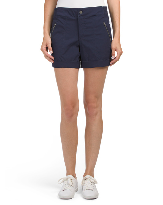 Cuffed Shorts With Zip Pockets