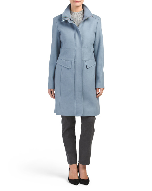 Zip Up Wool Coat With Pockets