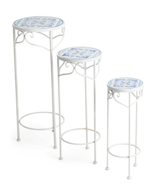3 Round Mosaic Plant Stands