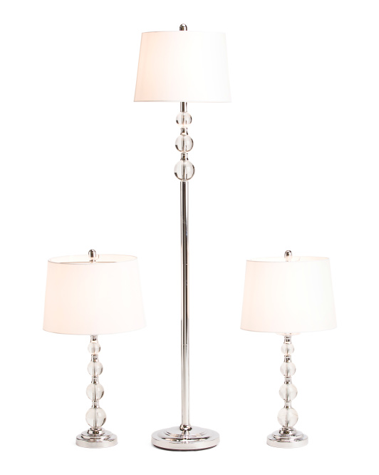 Set Of 3 Crystal Lamps