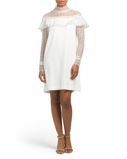 High Collar Lace Dress With Ruffles
