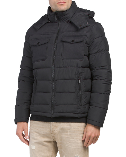 Faux Down Hooded Puffer
