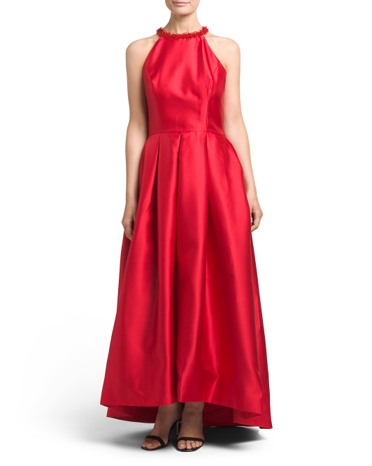 Mikado Gown With Pleated Skirt