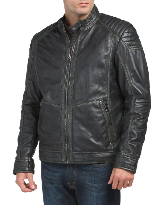 Vintage Lambskin Leather Moto Jacket