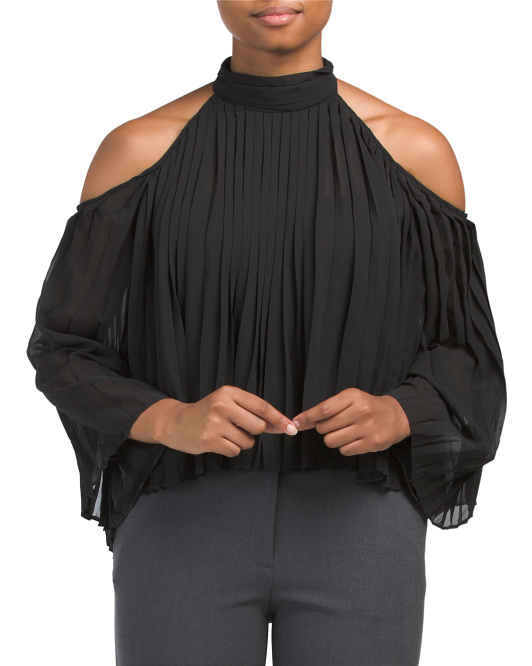 Mila High Neck Pleated Top