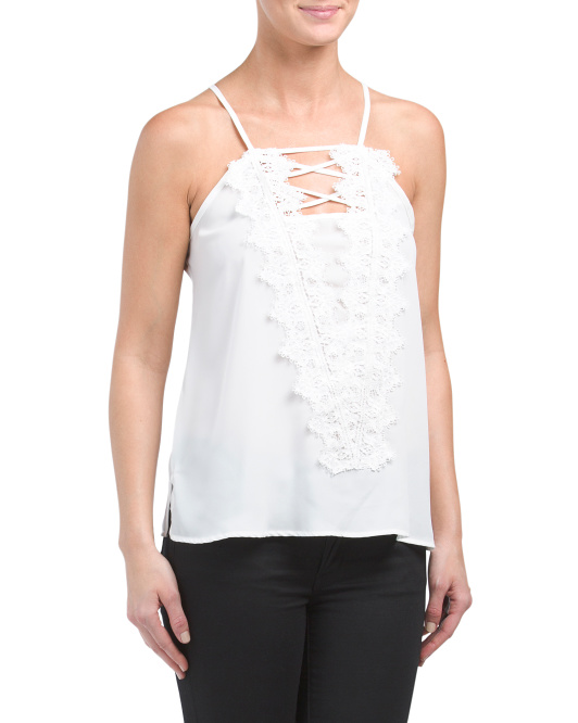 Made In USA Lace Criss Cross Tank