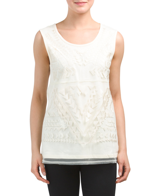 Embroidered Front Mesh Overlay Tank