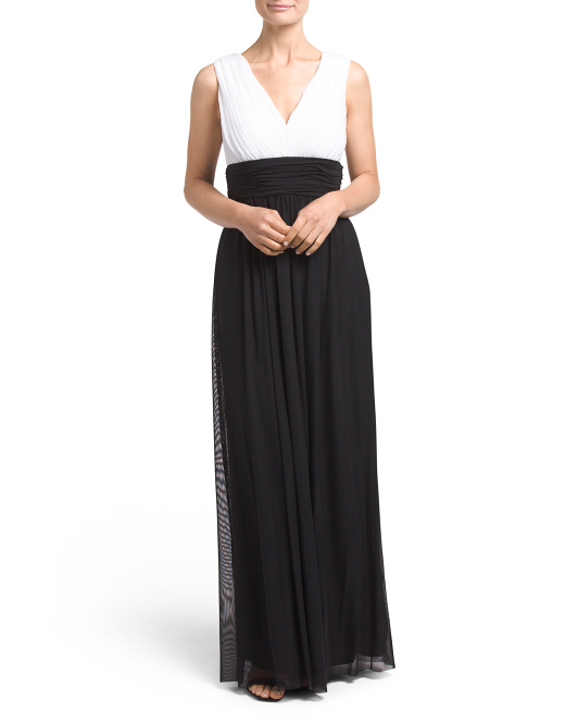 Colorblock Gown With Deep V Neck