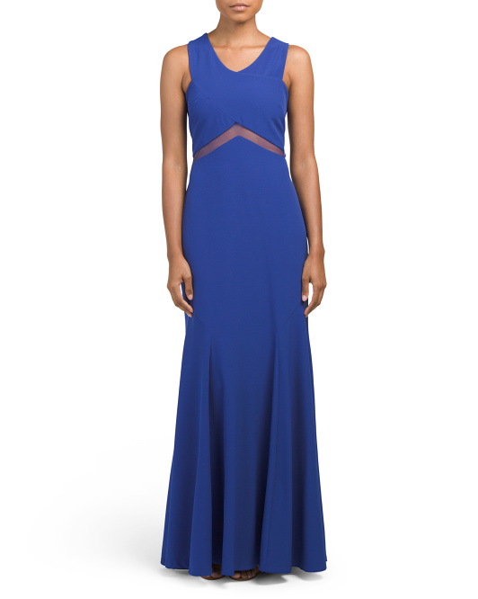 Crepe Gown With Illusion Inserts