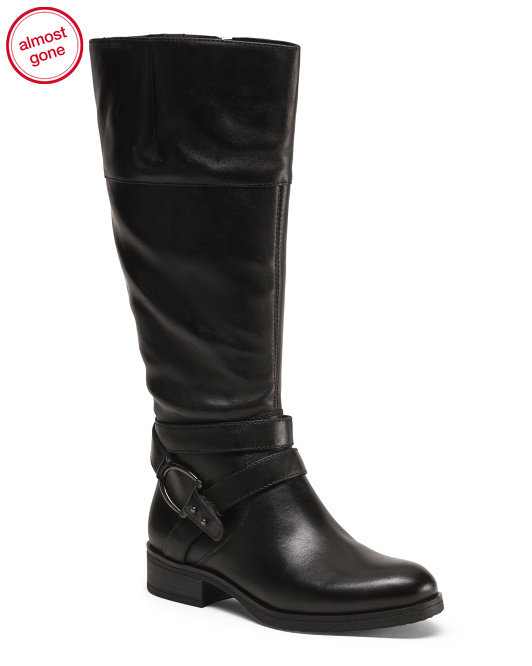 Wide Shaft Leather Rider Boots