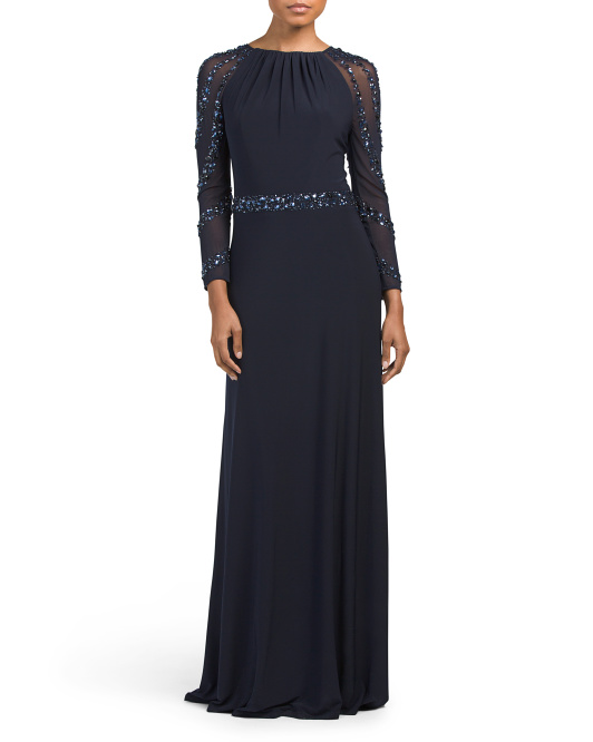 Bead Trim Long Sleeve Gown