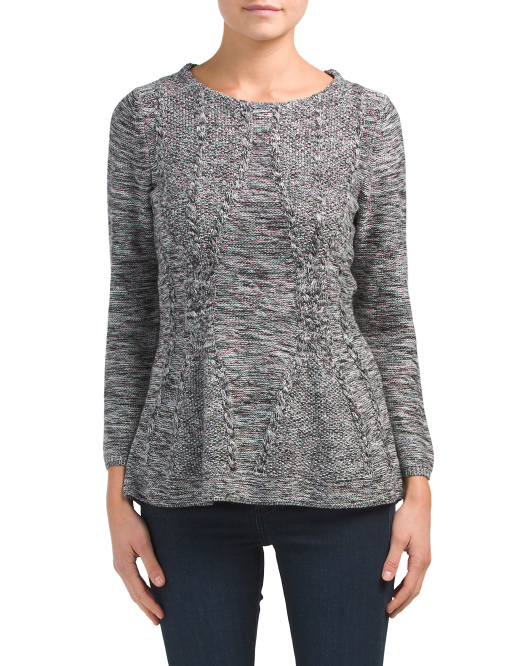 Textured Knit Peplum Sweater