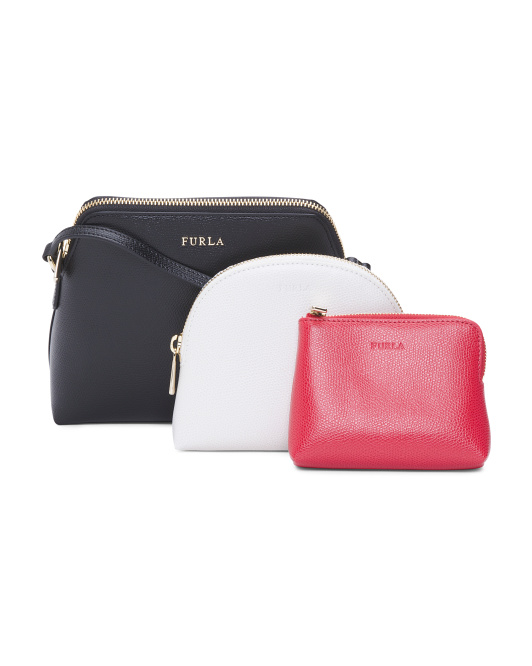 Leather Crossbody 3 Pouch Set