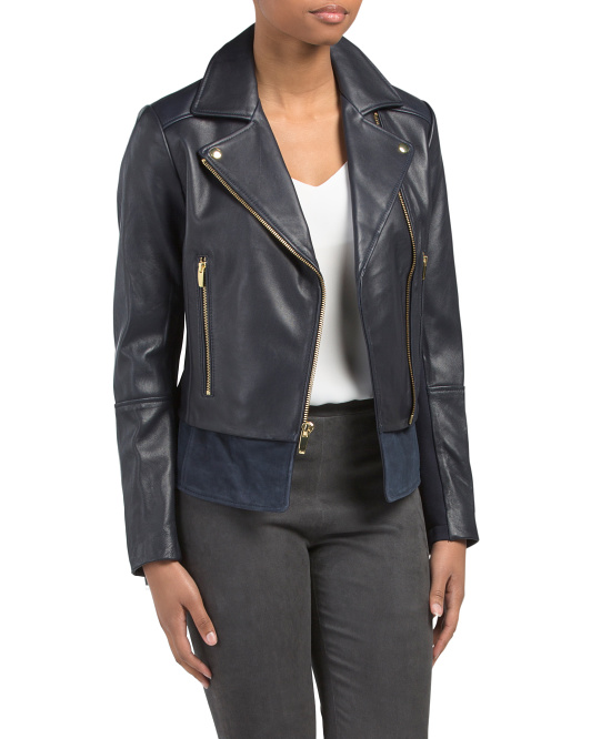 Leather Moto Jacket With Suede Hem