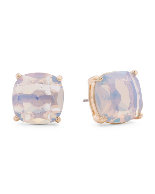 Air Blue Opal Stud Earrings In Gold Tone