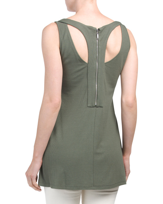 Back Zipper Tunic With Side Slits