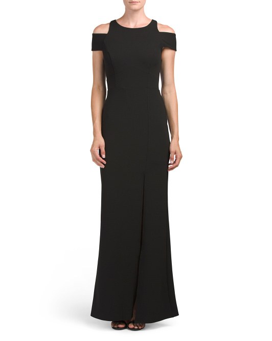 Cold Shoulder Scuba Crepe Gown