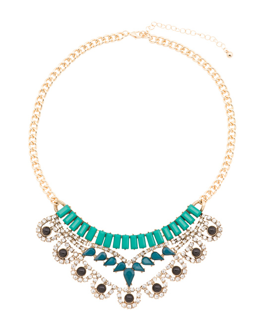 Crystal Statement Necklace In Gold Tone