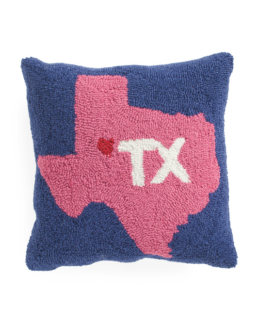 16x16 Hand Hooked Texas Pillow