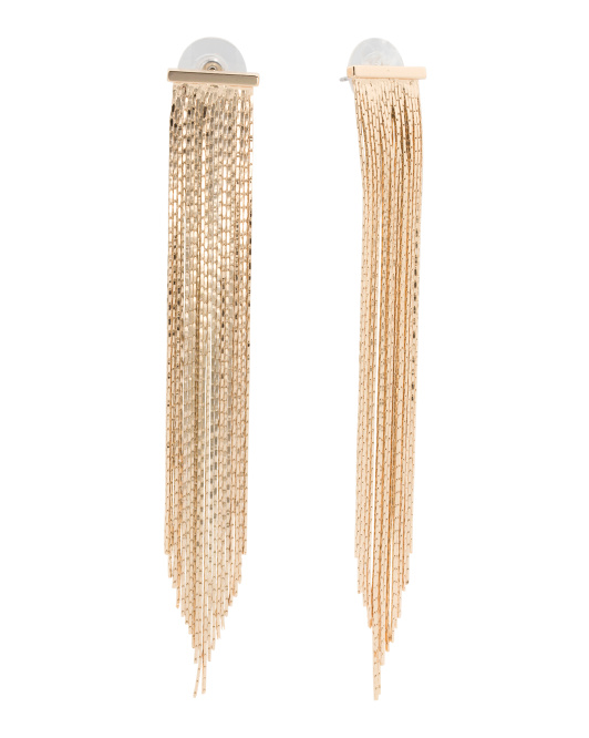Bar Fringe Earrings In Gold Tone