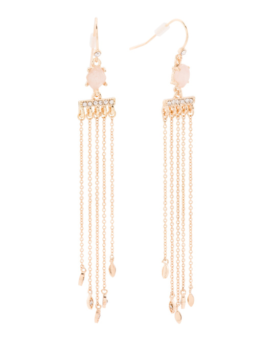 Rose Quartz Crystal Linear Fringe Earrings