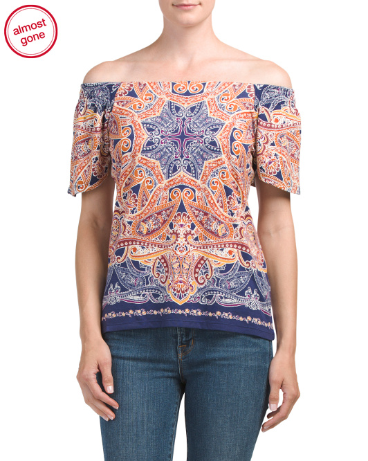 Off The Shoulder Paisley Print Top