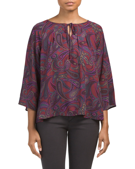Juniors Solas Paisley Print Top