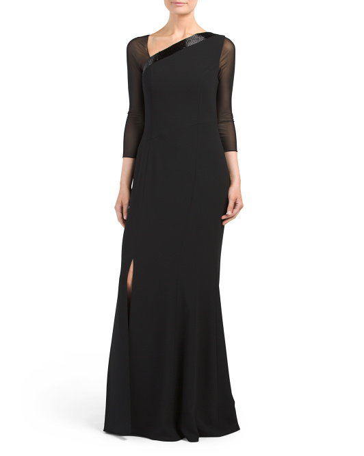 Sheer Sleeve Gown With High Slit