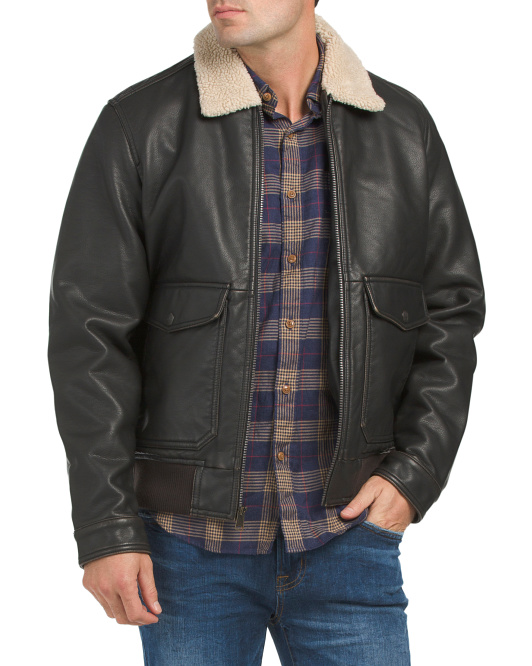 Brisbane Faux Leather Aviator Jacket