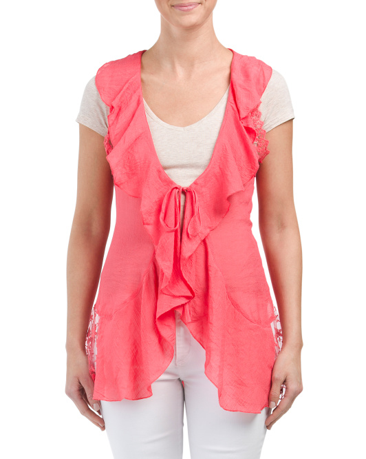 Ruffle Vest With Embroidered Lace