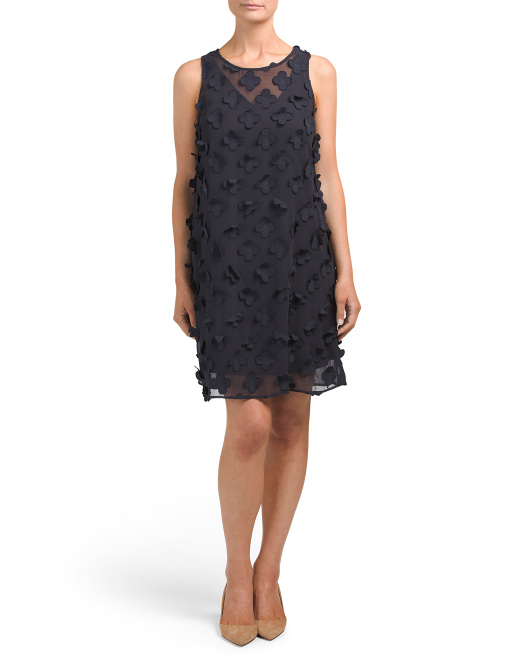 Chiffon Dress With Floral Appliques