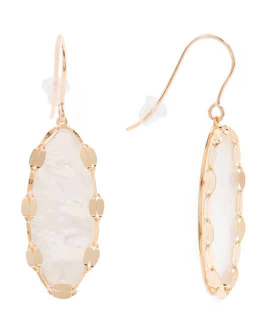 Made In Italy 14k Gold Marquise Mother Of Pearl Earrings