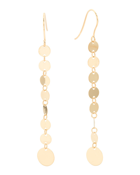 Made In Italy 14k Gold Mirror Chain Drop Earrings