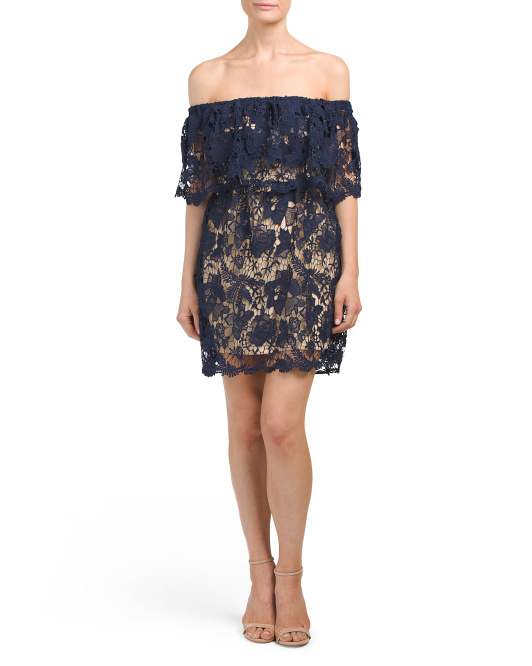 Juniors Lace  Popover Dress