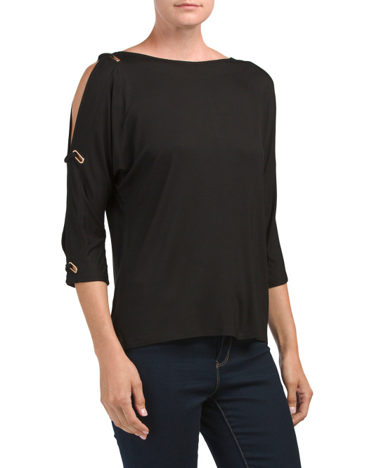 Cold Shoulder Top With Grommets