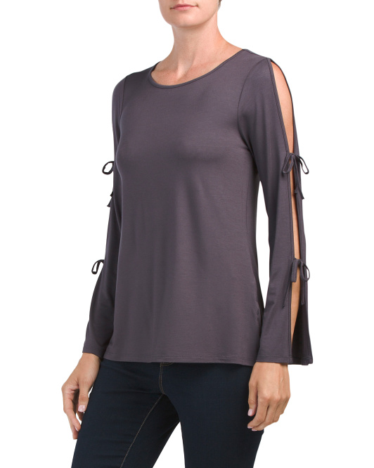 Tie Split Sleeve Top