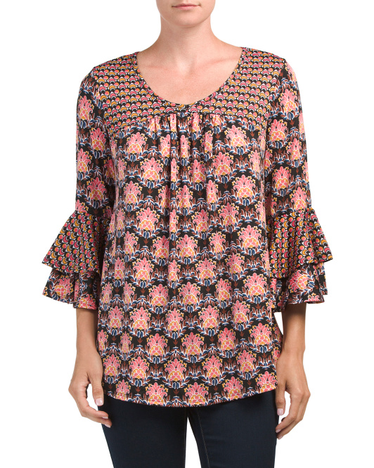Made In USA Printed Bell Sleeve Top