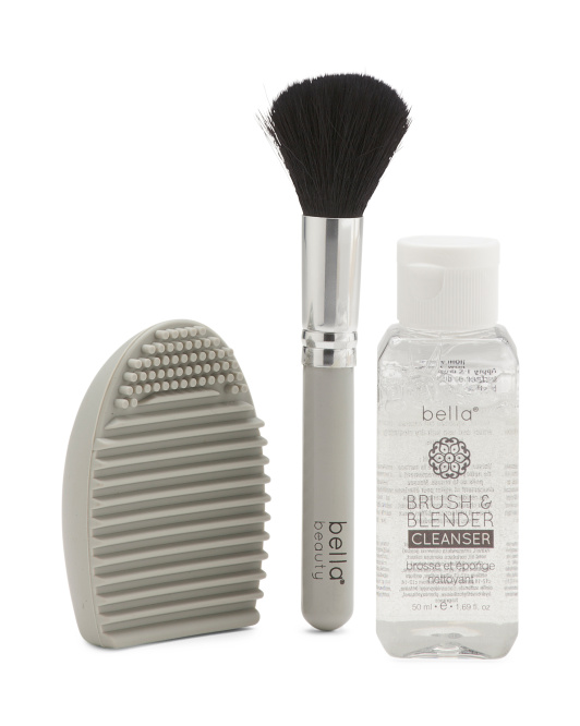 Egg Pad Makeup Brush And Cleanser Set