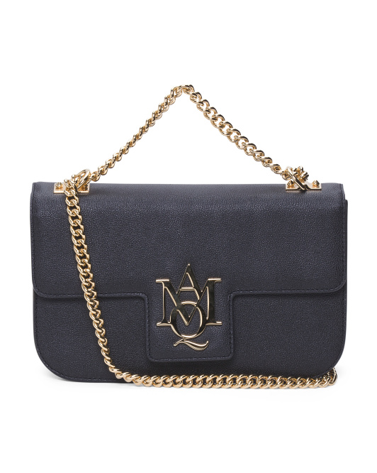 Made In Italy Insignia Chain Leather Satchel
