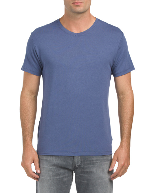 Stretch Short Sleeve V Neck T Shirt