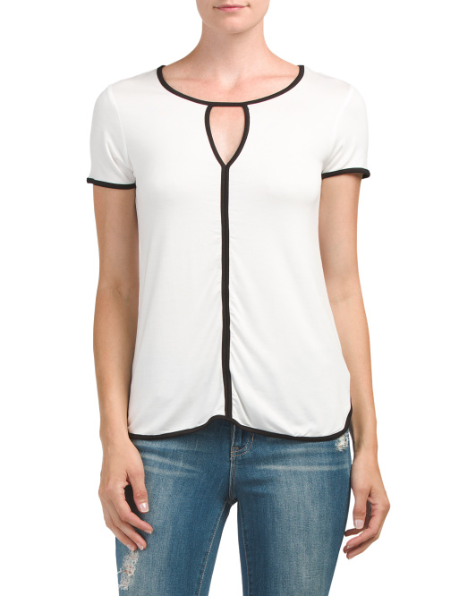 Keyhole Top With Contrast Trim
