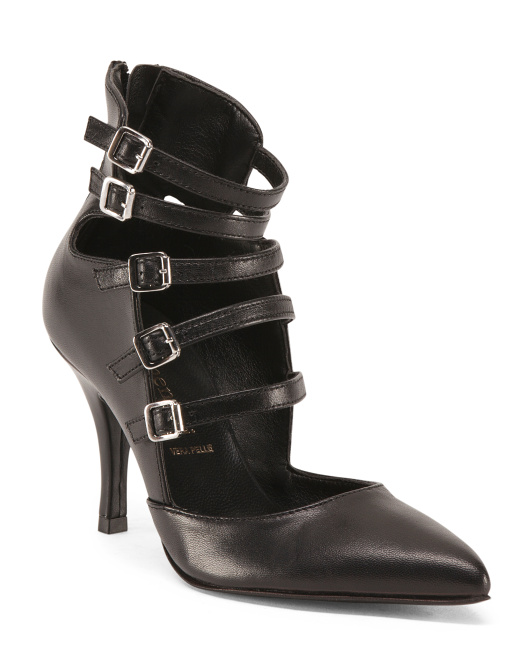 Made In Italy Multi Strap Leather Booties